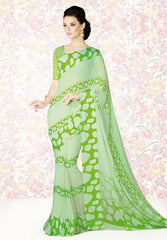 Pastel Green Color Georgette Casual Party Sarees : Mishrani Collection  YF-46003