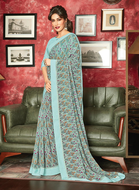 Powder Blue Color Georgette Casual Wear Saree- Aashvi Collection  YF#10553