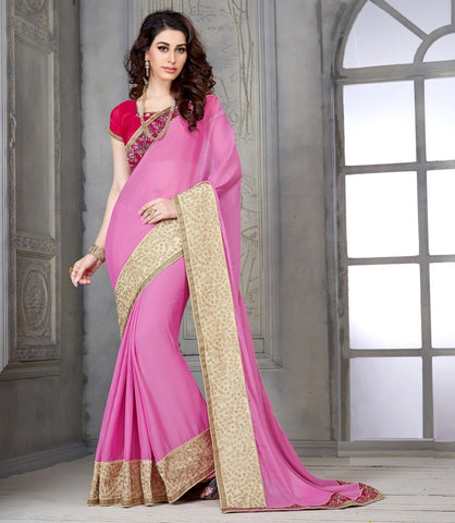 Pink Color Wrinkle Chiffon Casual Party Sarees : Parvi Collection  YF-30875
