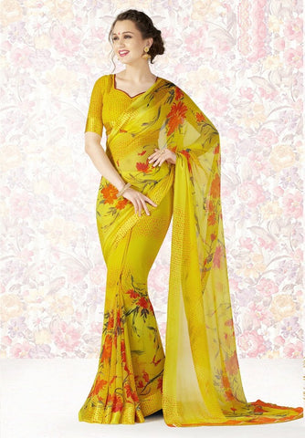 Yellow Color Georgette Casual Party Sarees : Mishrani Collection  YF-46005