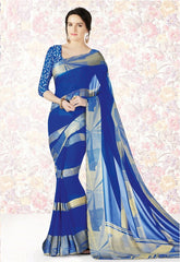Blue Color Georgette Casual Party Sarees : Mishrani Collection  YF-46006