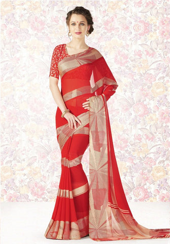 Red Color Georgette Casual Party Sarees : Mishrani Collection  YF-46007