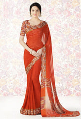 Orange Color Georgette Casual Party Sarees : Mishrani Collection  YF-46010