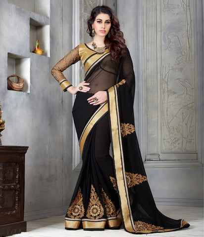 Black Color Georgette Casual Party Sarees : Parvi Collection  YF-30881