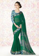 Green Color Georgette Casual Party Sarees : Mishrani Collection  YF-46011