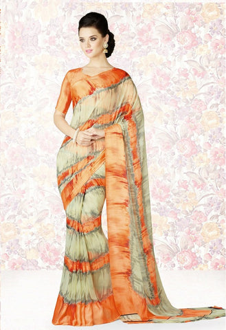 Light Yellow & Orange Color Georgette Casual Party Sarees : Mishrani Collection  YF-46012
