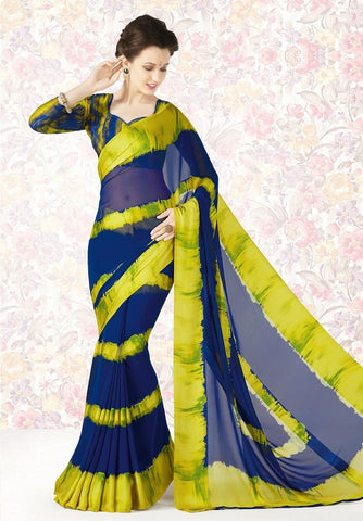 Blue & Green Color Georgette Casual Party Sarees : Mishrani Collection  YF-46013