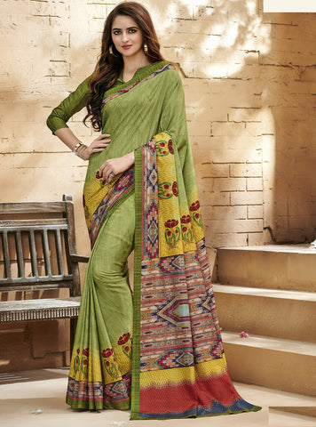 Green Color Fine Raw Silk Designer Digital Print Sarees : Varuni Collection YF-70771