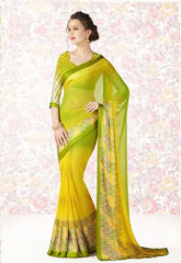 Yellow & Green Color Georgette Casual Party Sarees : Mishrani Collection  YF-46014