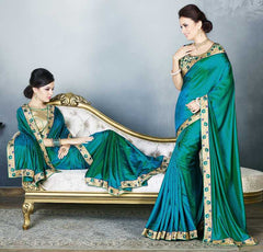 Green & Firozi Color Two Tone Silk Party Wear Sarees : Madhusira Collection(Includes Two Blouses)  YF-48076