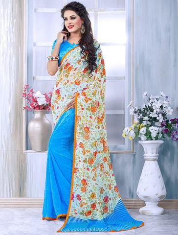 Sky Blue Color Georgette Casual Wear Sarees : Sneha Collection  YF-30449