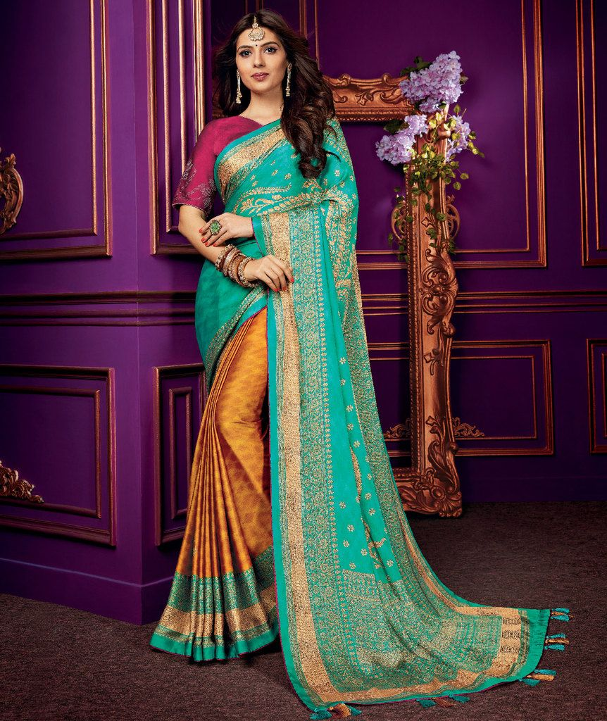 Se Green & Orange Color Crepe Silk Party & Function Wear Sarees :  Praniti Collection  NYF-2226 - YellowFashion.in