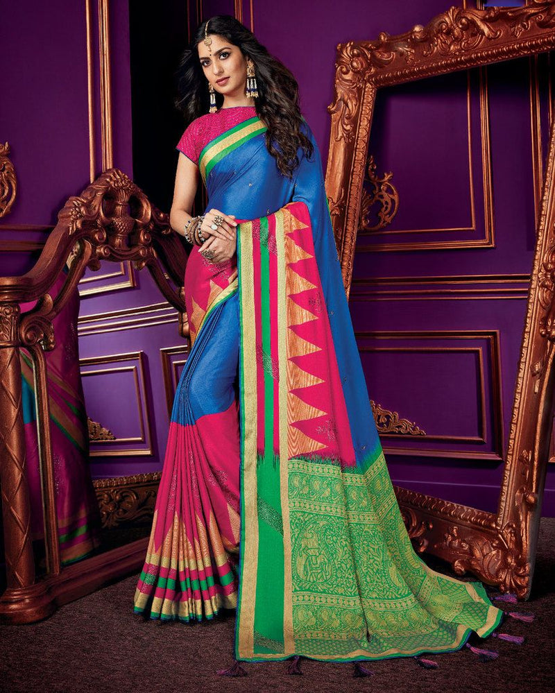Blue & Pink Color Crepe Silk Party & Function Wear Sarees :  Praniti Collection  NYF-2227 - YellowFashion.in