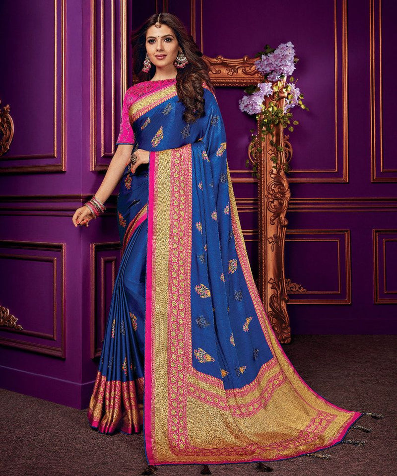 Royal Blue Color Crepe Silk Party & Function Wear Sarees :  Praniti Collection  NYF-2228 - YellowFashion.in