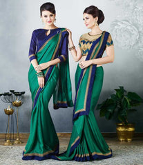 Green Color Satin Party Wear Sarees : Madhusira Collection(Includes Two Blouses)  YF-48083