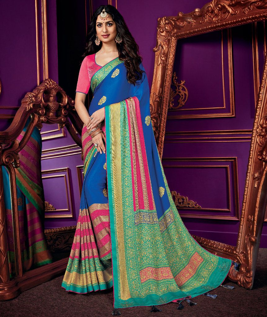 Blue & Pink Color Crepe Silk Party & Function Wear Sarees :  Praniti Collection  NYF-2230 - YellowFashion.in