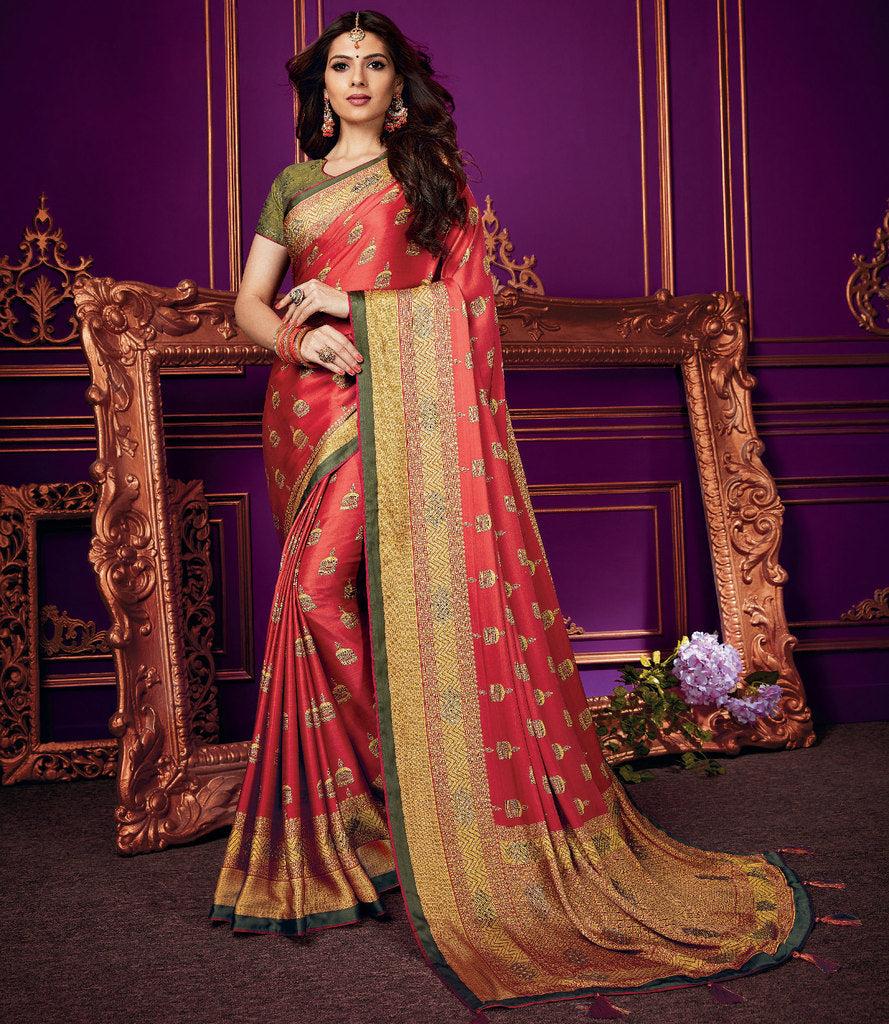 Brick Red Color Crepe Silk Party & Function Wear Sarees :  Praniti Collection  NYF-2231 - YellowFashion.in