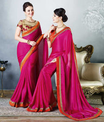 Rani Pink Color Satin Party Wear Sarees : Madhusira Collection(Includes Two Blouses)  YF-48084