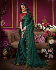 Bottle Green Color Crepe Silk Designer Party Wear Sarees : Aashima Collection  NYF-3151