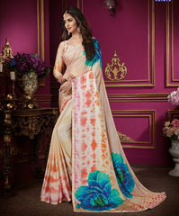 Cream & Baby Pink Color Crepe Silk Designer Party Wear Sarees : Aashima Collection  NYF-3152