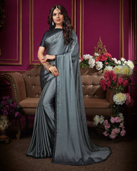 Grey Color Crepe Silk Designer Party Wear Sarees : Aashima Collection  NYF-3153