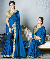 Blue Color Two Tone Silk Party Wear Sarees : Madhusira Collection(Includes Two Blouses)  YF-48085