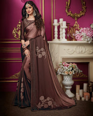 Light & Dark Brown Color Crepe Silk Designer Party Wear Sarees : Aashima Collection  NYF-3155