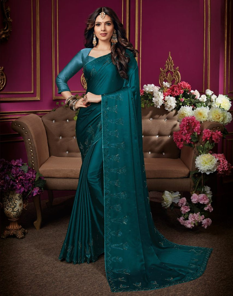Rama Blue Color Crepe Silk Designer Party Wear Sarees : Aashima Collection  NYF-3157 - YellowFashion.in
