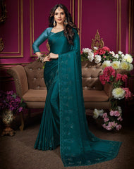 Rama Blue Color Crepe Silk Designer Party Wear Sarees : Aashima Collection  NYF-3157