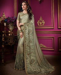 Mud Color Crepe Silk Designer Party Wear Sarees : Aashima Collection  NYF-3158