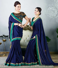Blue Color Satin Party Wear Sarees : Madhusira Collection(Includes Two Blouses)  YF-48090