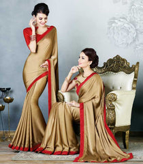 Golden Color Satin Party Wear Sarees : Madhusira Collection(Includes Two Blouses)  YF-48091