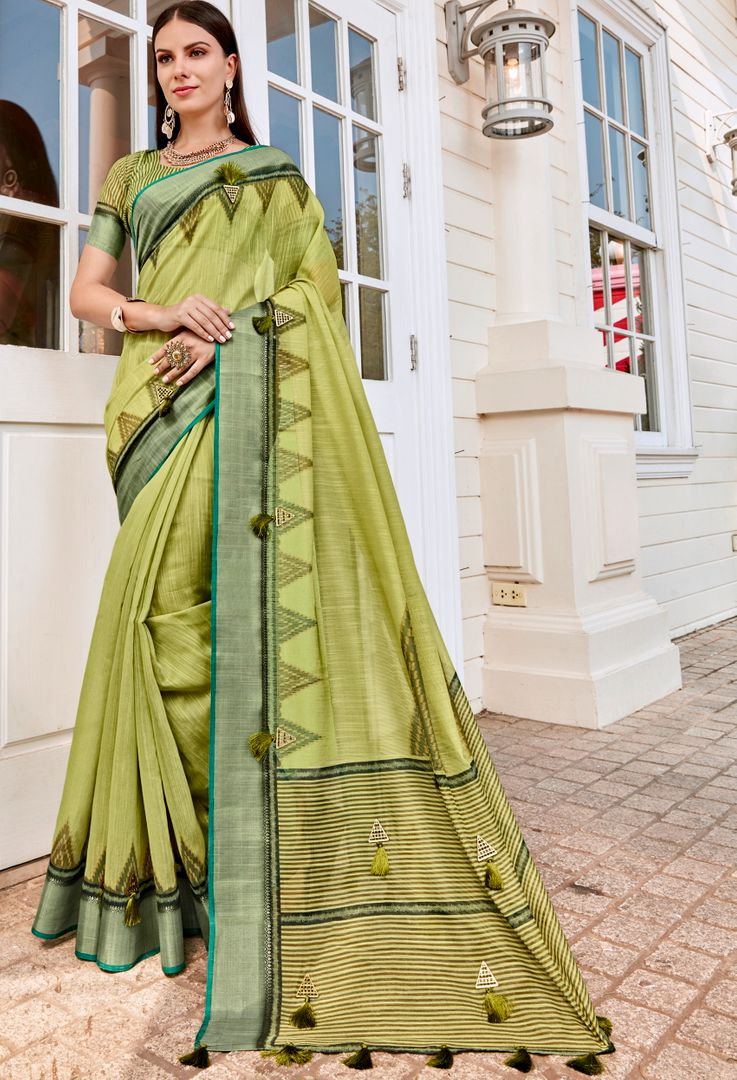 Green Color Tusser Silk Gorgeous Party Wear Sarees NYF-4840