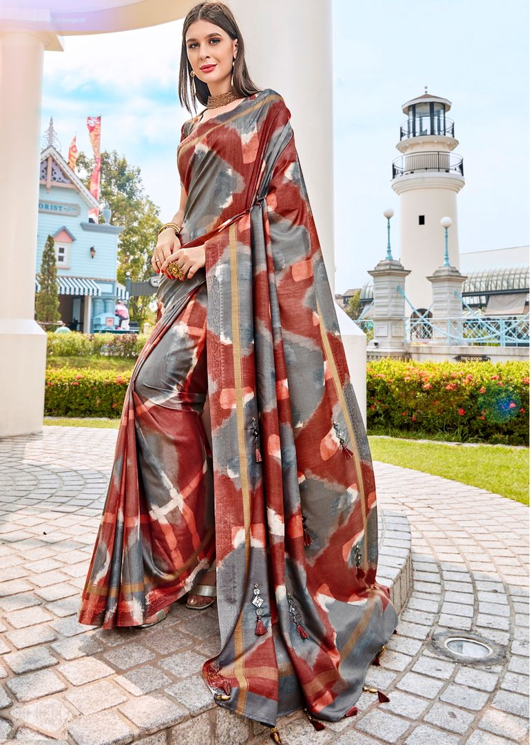 Grey & Brown Color Tusser Silk Gorgeous Party Wear Sarees NYF-4841