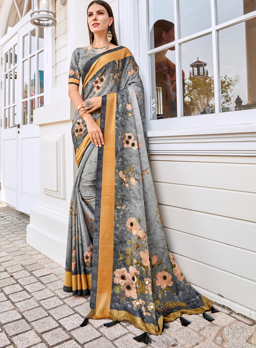 Grey Color Tusser Silk Gorgeous Party Wear Sarees NYF-4842