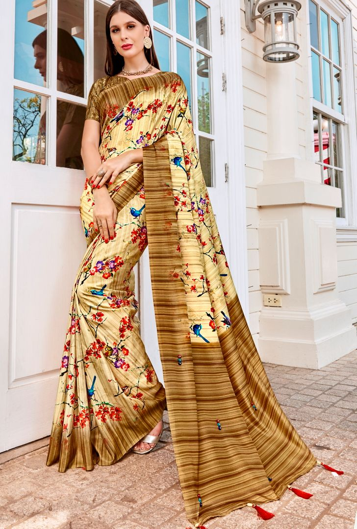 Cream & Light Coffee Color Tusser Silk Gorgeous Party Wear Sarees NYF-4843