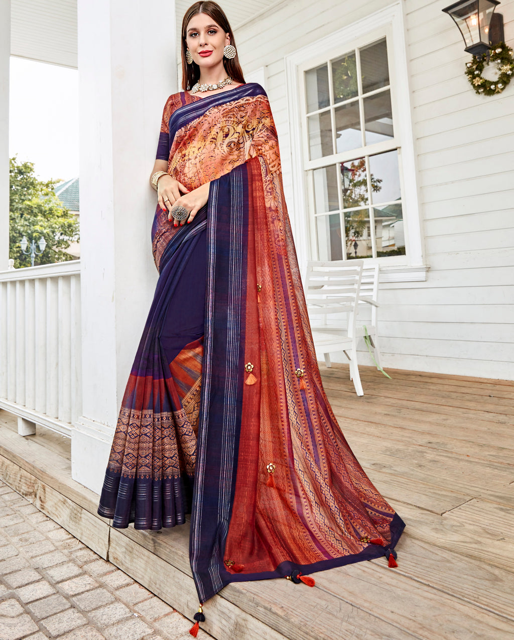 Blue Color Tusser Silk Gorgeous Party Wear Sarees NYF-4844