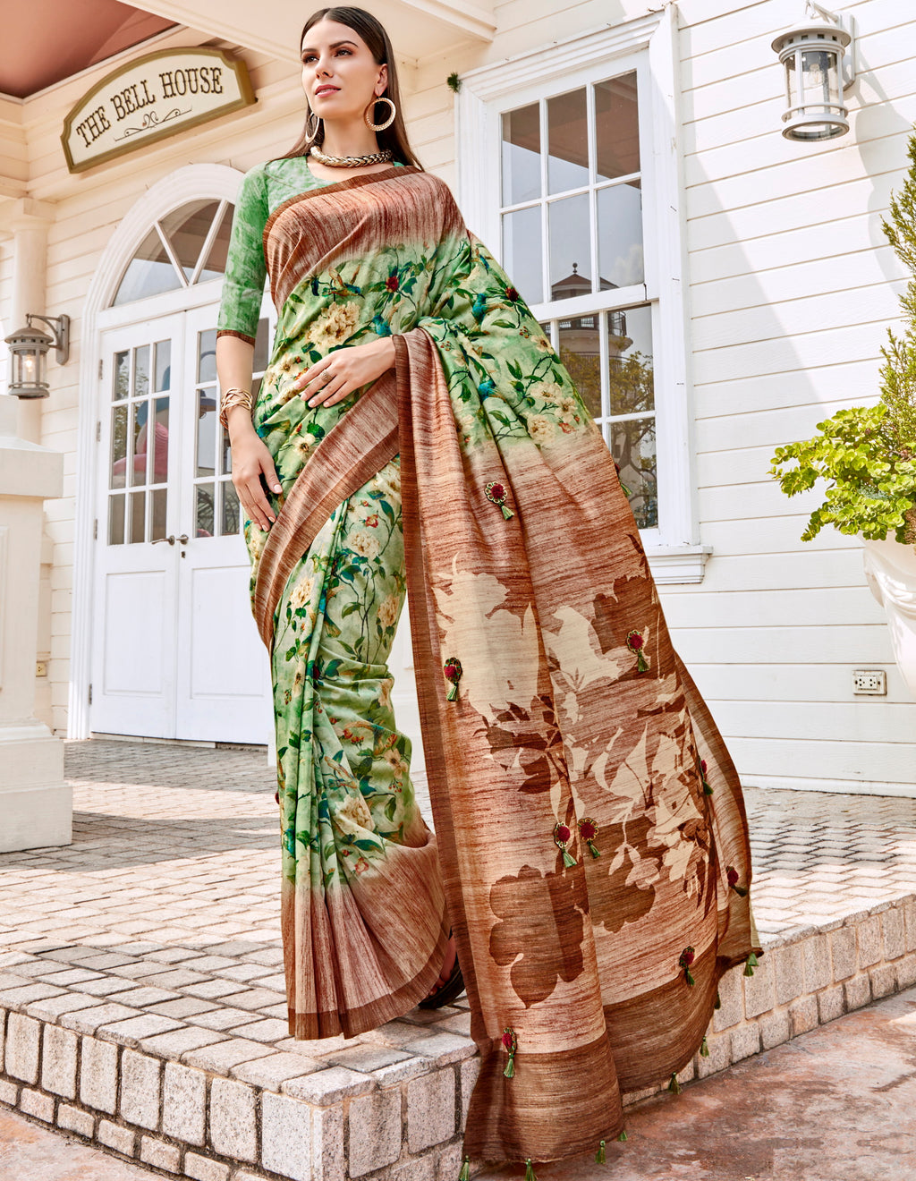 Green Color Tusser Silk Gorgeous Party Wear Sarees NYF-4845
