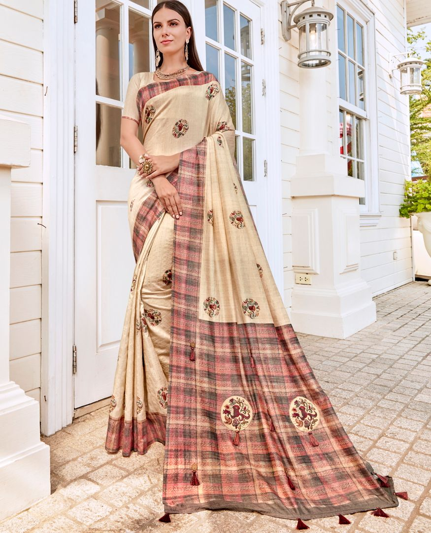 Cream Color Tusser Silk Gorgeous Party Wear Sarees NYF-4846