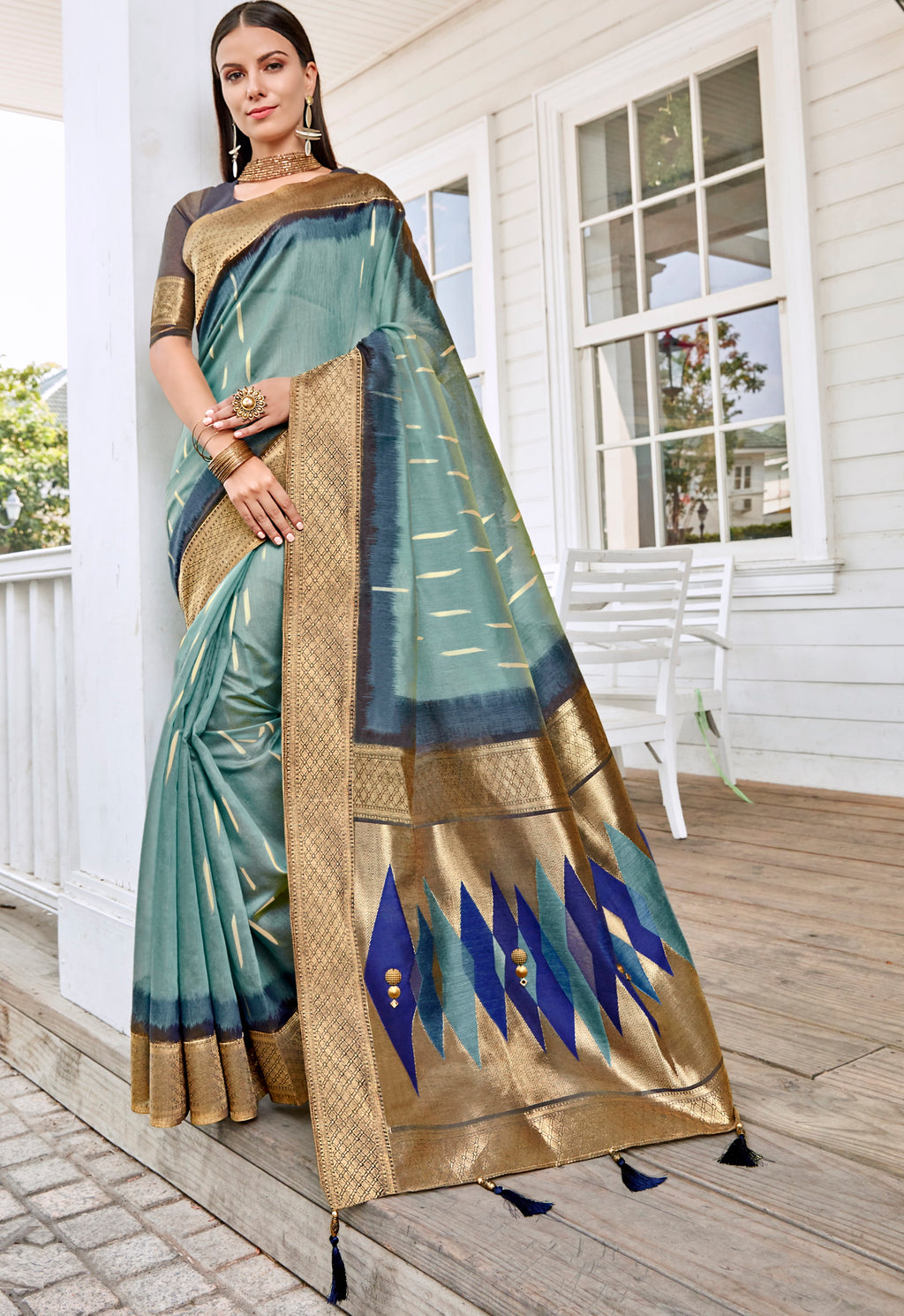 Aqua Blue Color Tusser Silk Gorgeous Party Wear Sarees NYF-4847