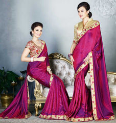 Shades Of Pink Color Two Tone Silk Party Wear Sarees : Madhusira Collection(Includes Two Blouses)  YF-48092