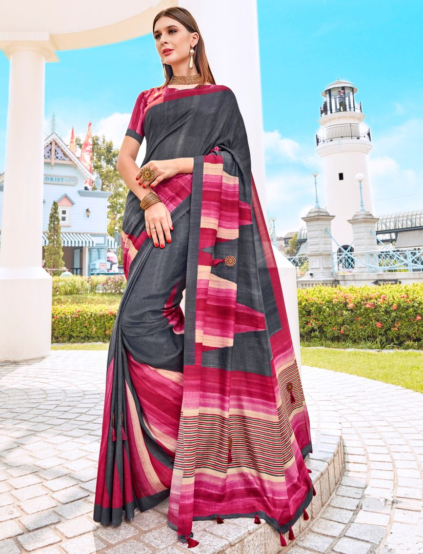 Dark Grey & Pink Color Tusser Silk Gorgeous Party Wear Sarees NYF-4848