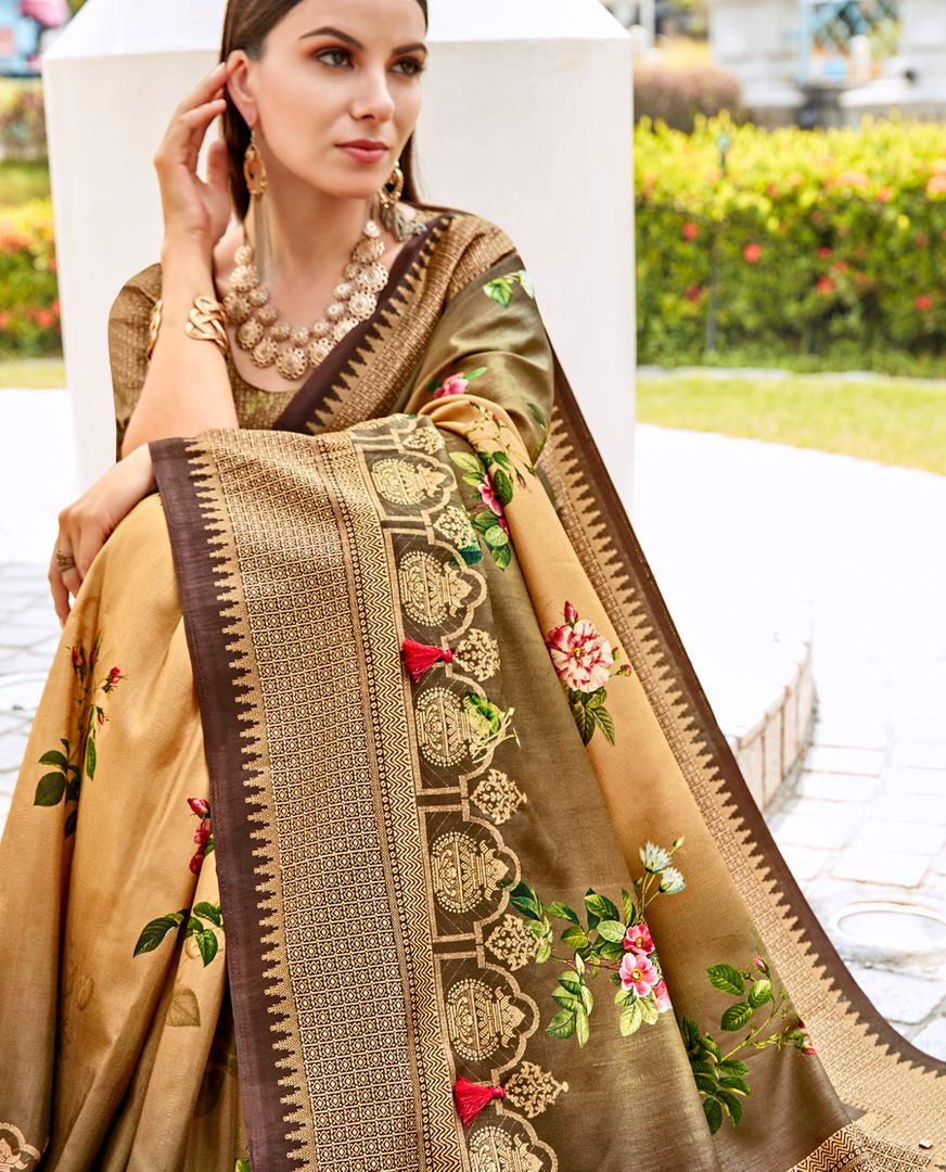 Golden Color Tusser Silk Gorgeous Party Wear Sarees NYF-4849