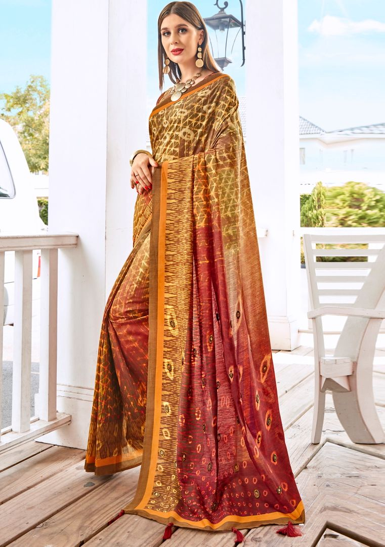 Multi Color Tusser Silk Gorgeous Party Wear Sarees NYF-4850