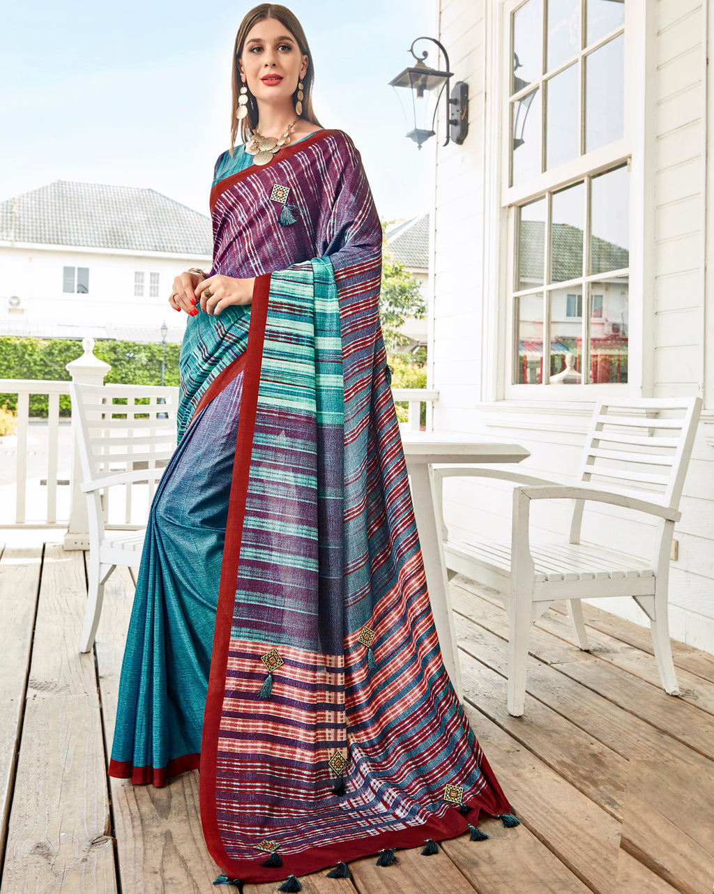 Multi Color Tusser Silk Gorgeous Party Wear Sarees NYF-4851