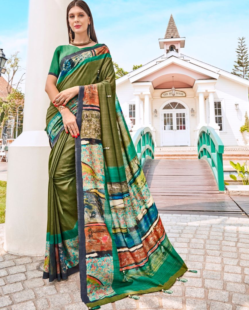 Mehendi Green Color Tusser Silk Gorgeous Party Wear Sarees NYF-4852