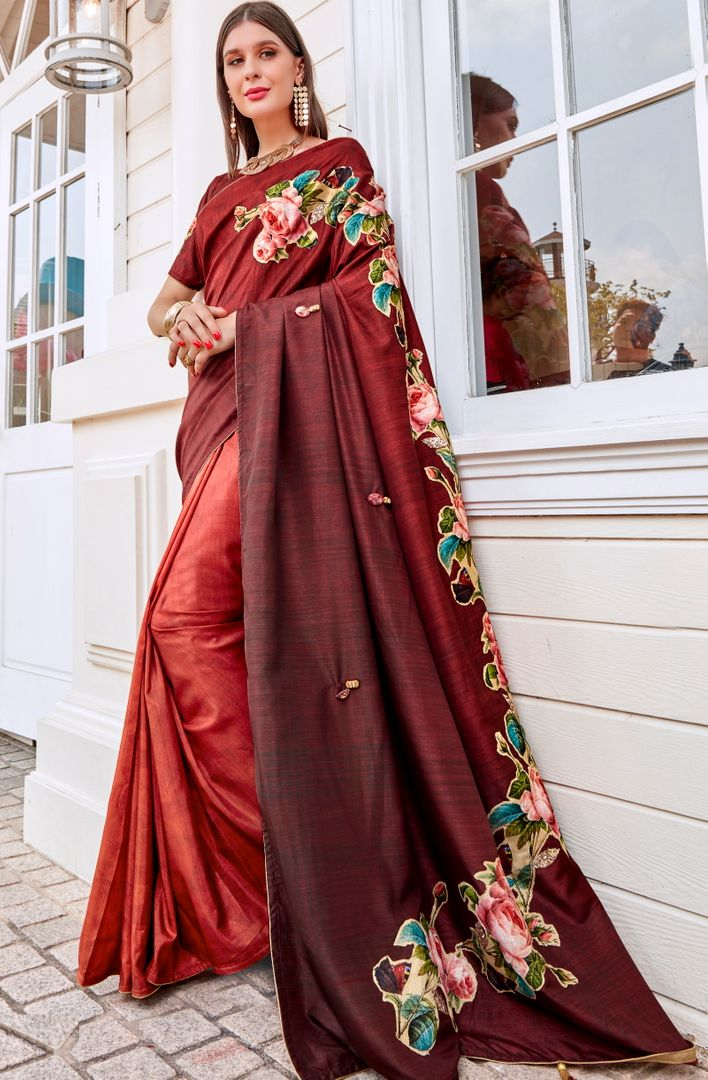 Maroon Color Tusser Silk Gorgeous Party Wear Sarees NYF-4853