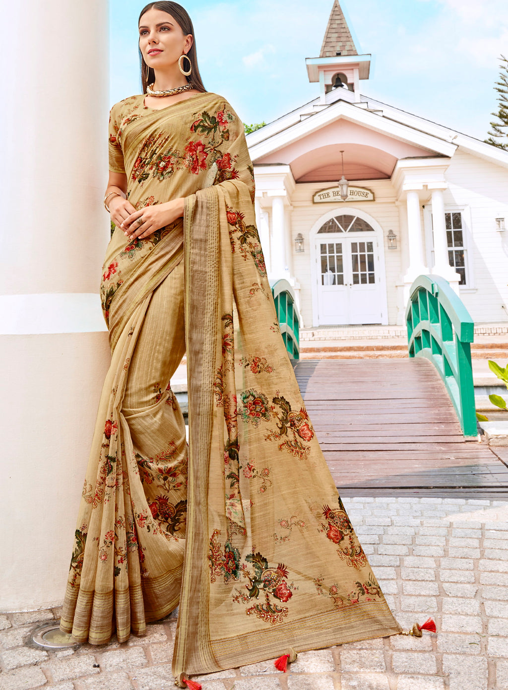 Beige Color Tusser Silk Gorgeous Party Wear Sarees NYF-4854