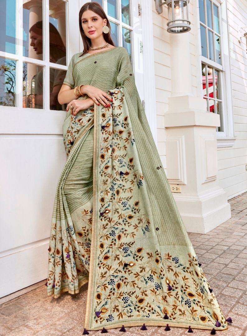Light Aqua Green Color Tusser Silk Gorgeous Party Wear Sarees NYF-4855