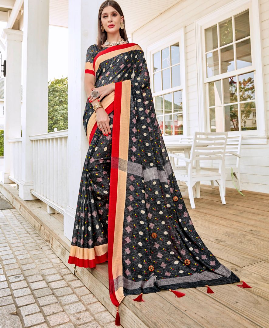 Black Color Tusser Silk Gorgeous Party Wear Sarees NYF-4856